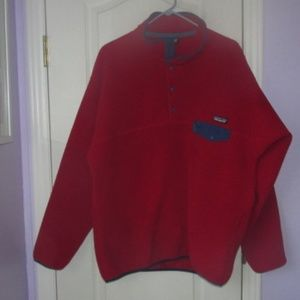 red patagonia synchilla fleece pullover sweater